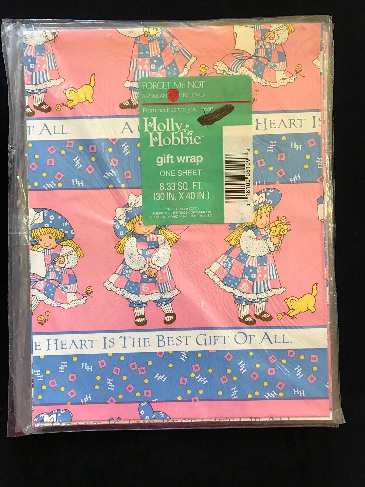 Vintage 1989 American Greetings Holly Hobbie Pink And Blue Floral