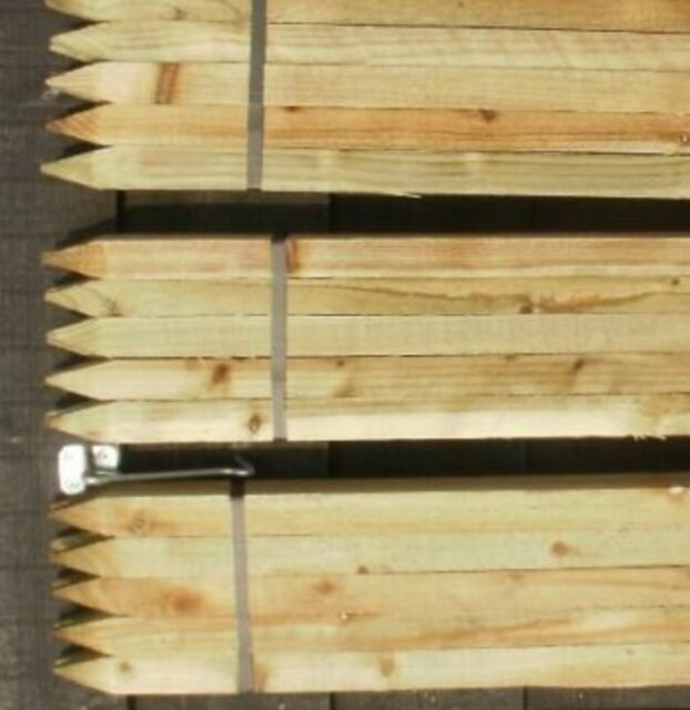 10x NEW Fence Posts Wooden Garden Stakes STRONG Treated Wood Post 4 Ft  Gardening