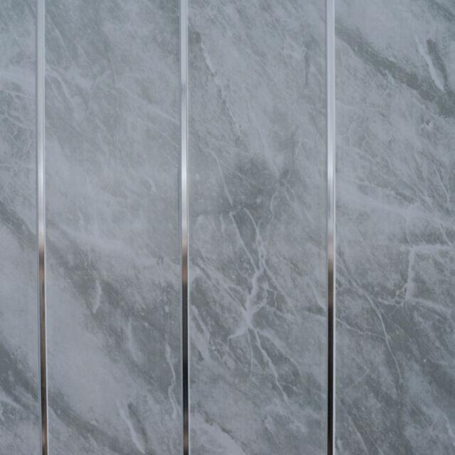 Grey Marble & Chrome Bathroom Cladding Panels PVC Kitchen Ceiling Shower Wall 5pcs