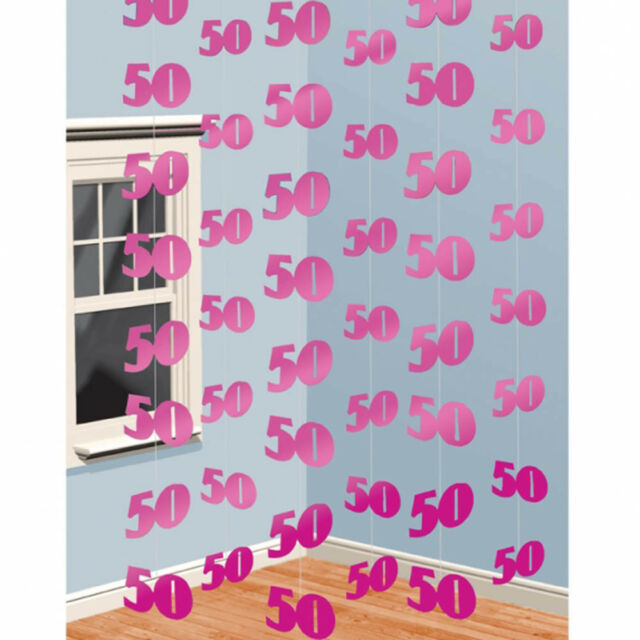 6 Pink 50th Birthday Party 7ft String Decorations eBay