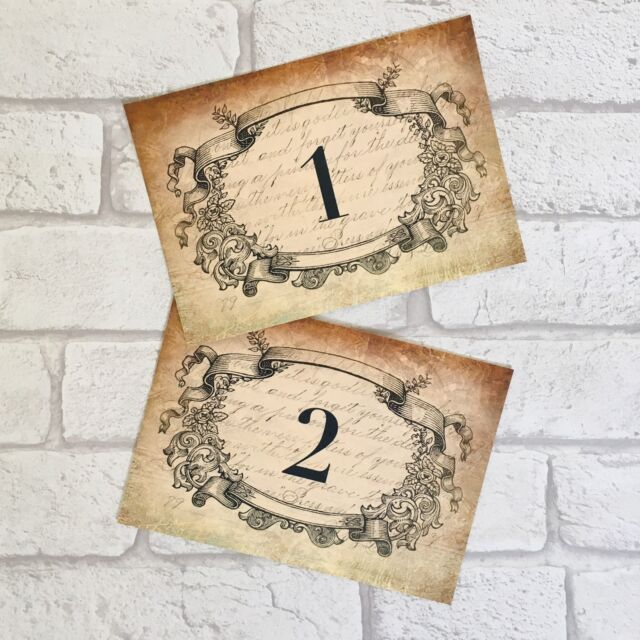 Vintage Wedding Table Number Cards Antique Style Frame Shabby Chic ...
