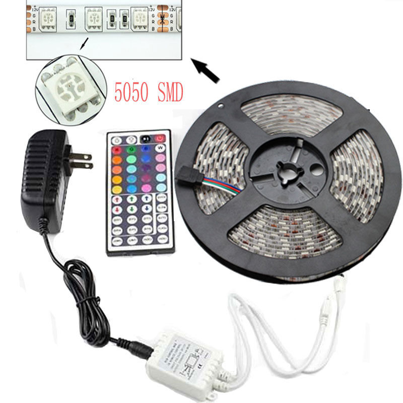 5m smd rgb 5050 waterproof led strip light 300 44 key remote 12 resntentobalflowflowcomponentncel mozeypictures Image collections