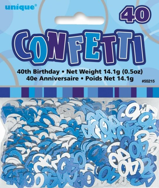 Blue Glitz Age 40 Birthday Table Confetti 14 Gram Packet 40th Party