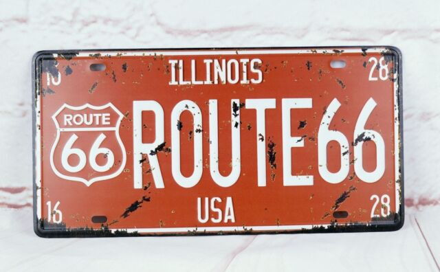 Wall Hanging License Plate Route 66 Vintage Metal Signs Home Decor ...