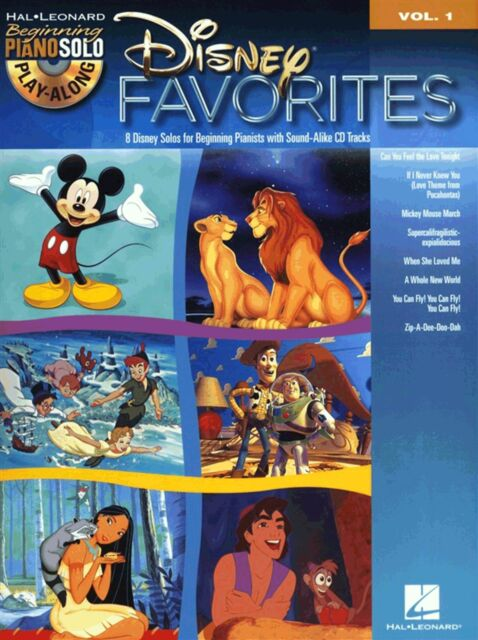 Easy Beginner Piano Solo Playalong DISNEY SONGS Sheet Music Book & Backing CD