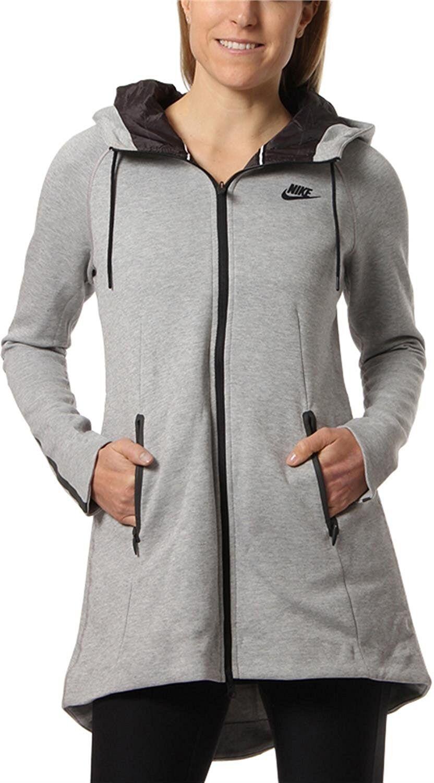 Nike Tech Fleece Aeroloft Parka Womens Jacket Coat L Grey 615165 ...