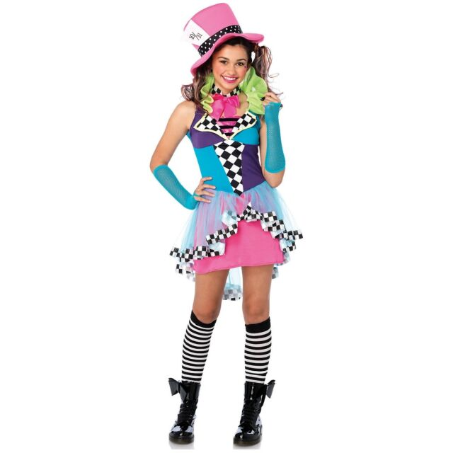 Mad Hatter Costume Teen Female Alice in Wonderland Halloween Fancy Dress  sc 1 st  eBay & Leg Avenue J49102 Mayhem Hatter Teen Girls Halloween Costume ...