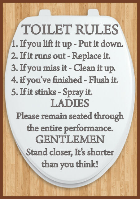bathroom toilet rules door sign a4 size laminated other designs available