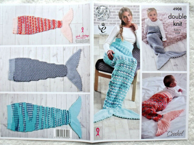 King Cole Crochet Pattern 4908 Mermaid Tail Blanket 6 Sizes Double