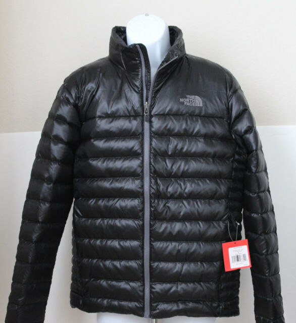 North face black leather jacket