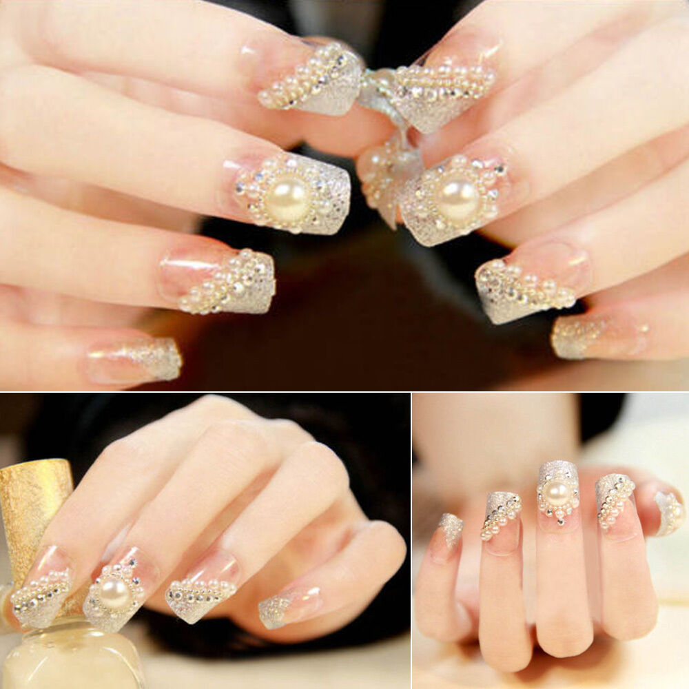 3d Fashion Nail Art Tips Pearl Acrylic Gem Glitter Manicure DIY ...