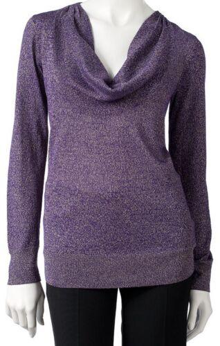 0a2e2a40a9b Dana Buchman Purple Metallic Lurex Cowlneck Sweater Blouse Top