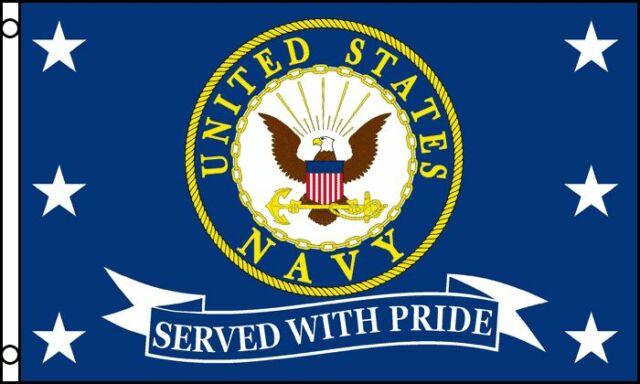 Us Navy Served With Pride Flag 3x5 Ft Usn Vet Veteran Retired United