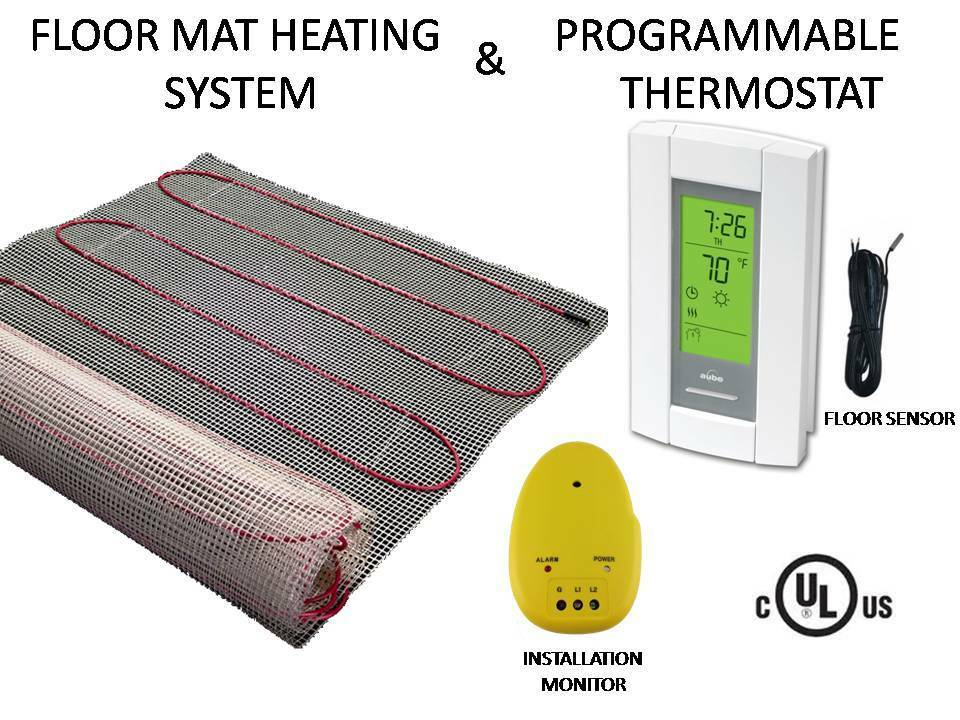 Electric Tile Radiant Warm Floor Heat Heated Kit Mat With Aube Prog