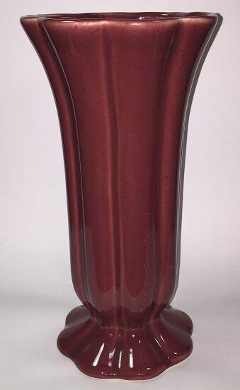 Royal Haeger Vase Rose Maroon Scalloped Pedestal Urn Large 12 Inches