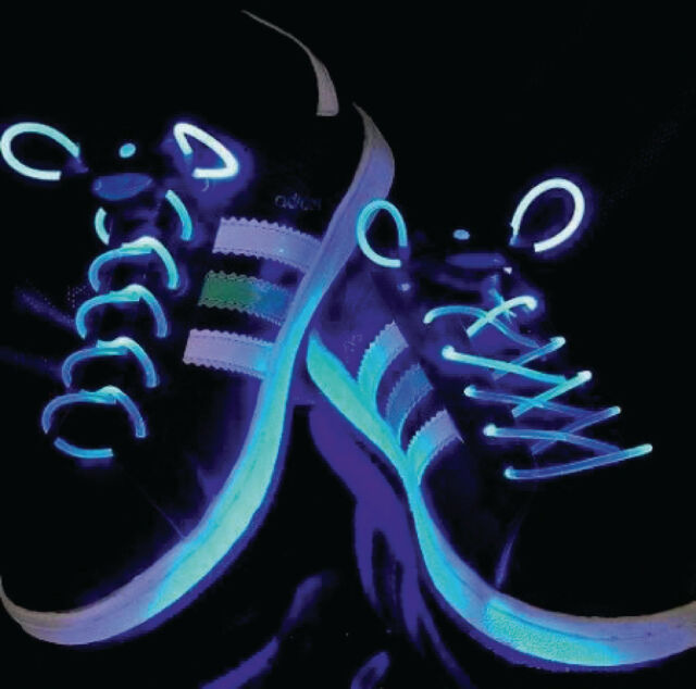 blinkende LED Schnürsenkel Party Schuhbänder Joggen im Dunkeln Sicherheit blau