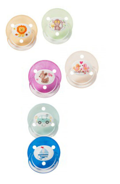 Baby Nova Beruhigungssauger Latex mit Ring runde Naturform bunt 2er Pack