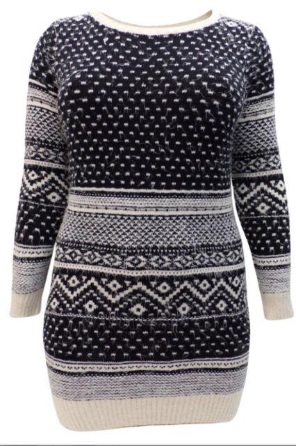 EX Yours Black Fair Isle Pattern Long Sleeve Soft Knit Christmas ...