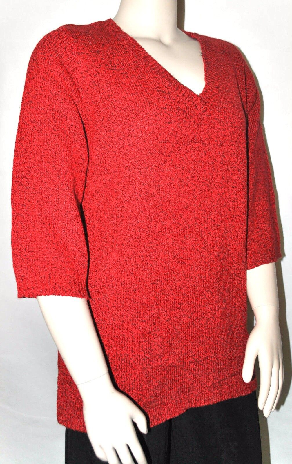 Karen Scott Sweater Plus Size 0x Red Marled 3/4 Sleeve Vneck Tunic ...