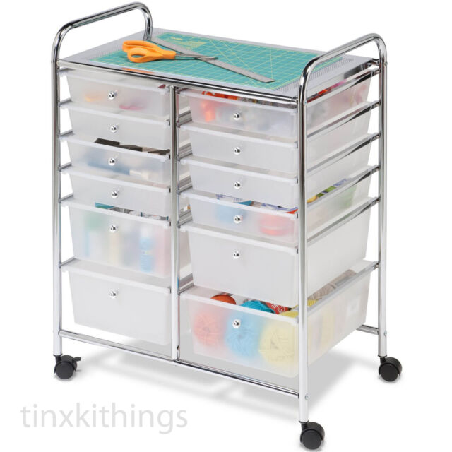 Craft storage cart containers with 12 drawers rolling mobile rolling mobile cart drawer organizer storage art craft office school supplies us sciox Images
