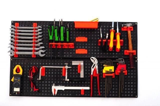Lochwand Werkstattwand Werkzeugwand Paneel Lochblech Kunststoff 21 Teile