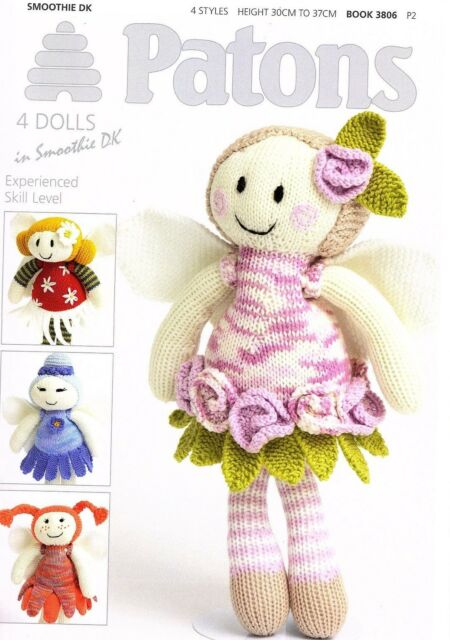 Patons 4 Fairy Flower Dolls Dk Yarn Knitting Pattern Book 3806 Ebay