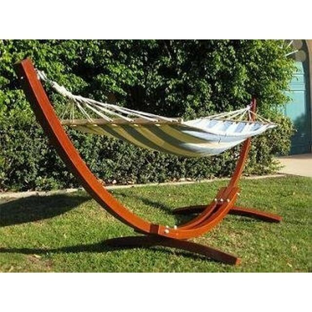 Medium image of prosource hg 2001 wh new wooden curved arc hammock stand w  hammock