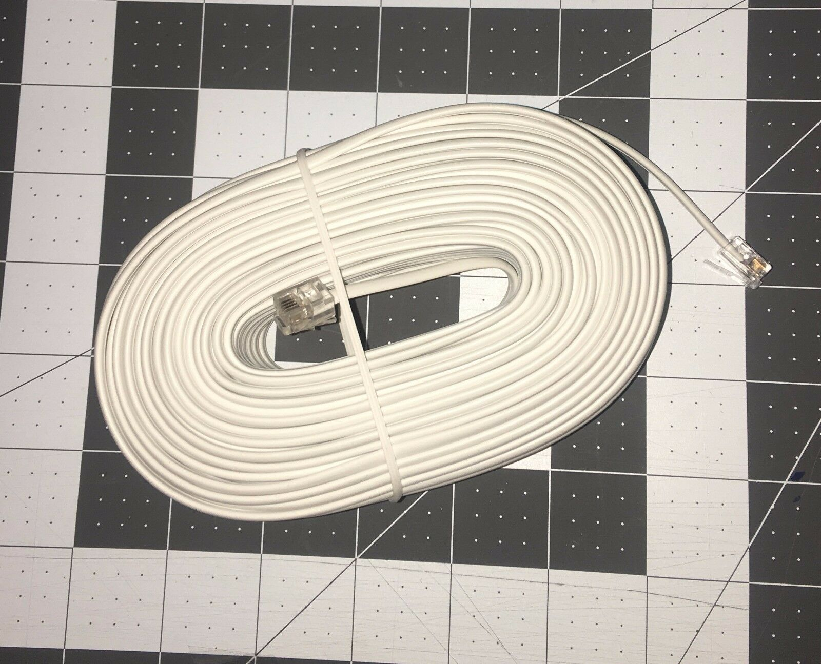 100\' FT Telephone Extension Cord Phone Cable Rj-11 4 Wire Line Jacks ...