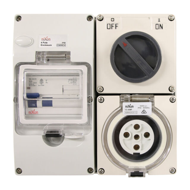 4 Pin 20amp Switched Socket Combination Outlet Ip66 Weatherproof ...