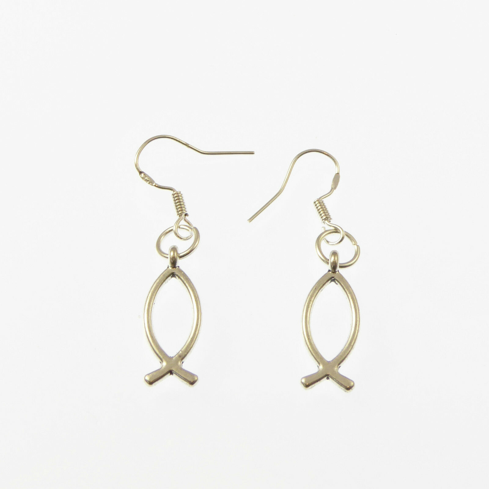 Christian jesus ichthus fish symbol dangly earrings sterling picture 1 of 1 biocorpaavc Choice Image