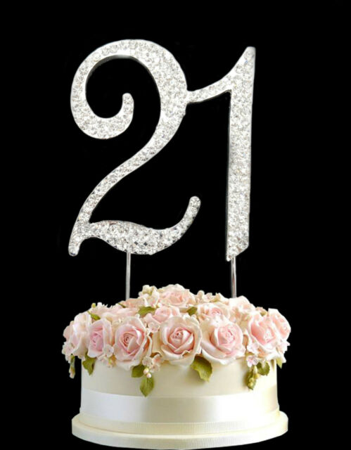 Diamante Rhinestone Gem Cake Pick Birthdays Anniversary Silver
