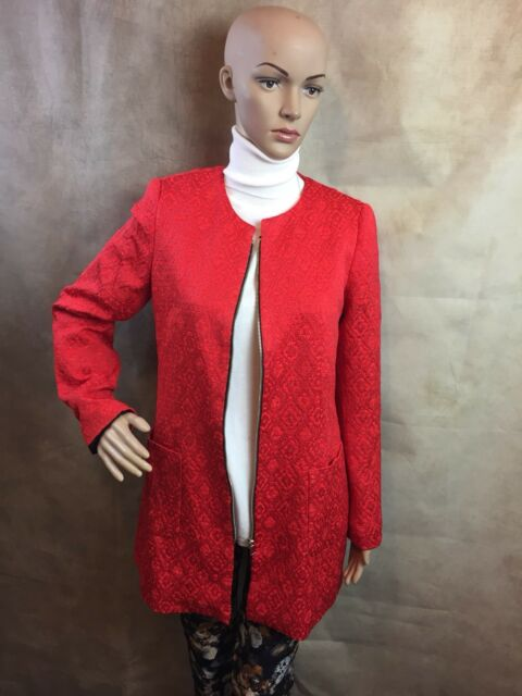 Zara Red Collarless Coat Size Large B3 Ref 7666 581 | eBay
