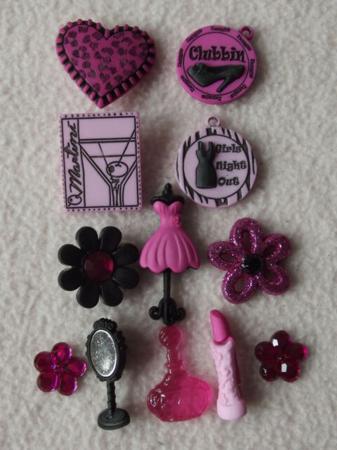 DRESS IT UP BUTTONS ~ GIRLS NIGHT OUT ~ MANNEQUIN ~ LIPSTICK ~ MIRROR ~ PERFUME+