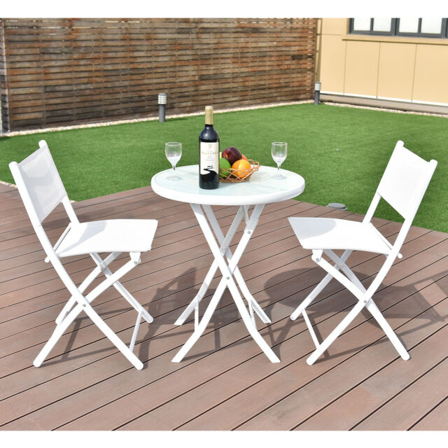 3 PCS Bistro Set Garden Backyard Table Chairs Outdoor Patio ...