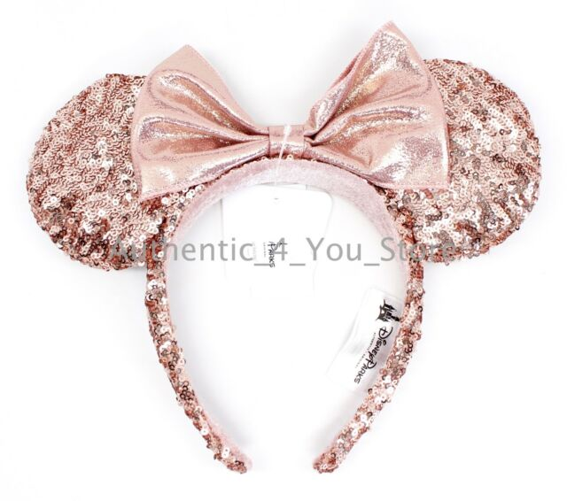 disney parks minnie rose gold sequin ear headband millennial pink in hand ebay. Black Bedroom Furniture Sets. Home Design Ideas