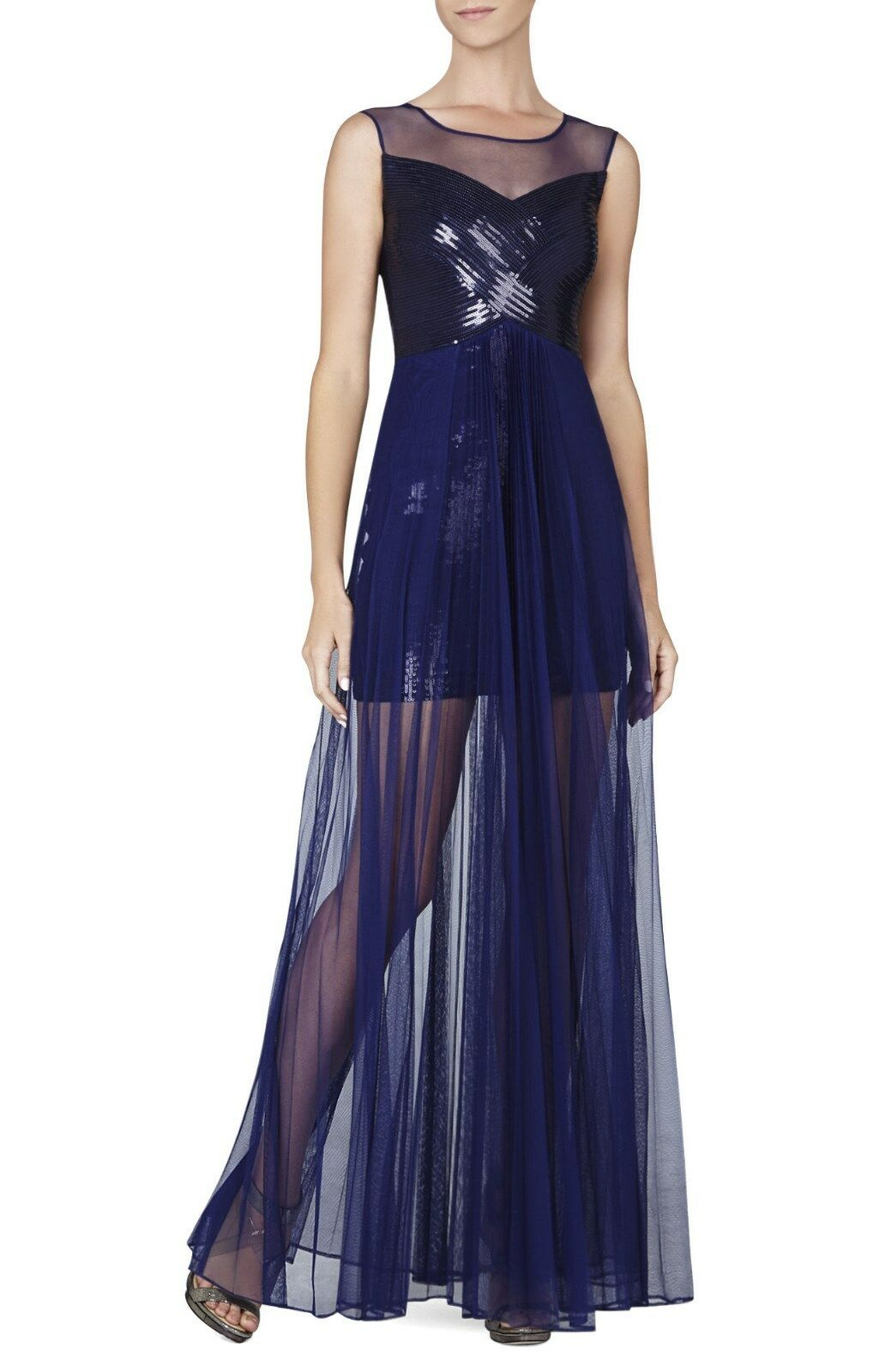 BCBG Cynthia Sequined Detail Sunburts Pleated Gown Ahw69c04/l401 ...
