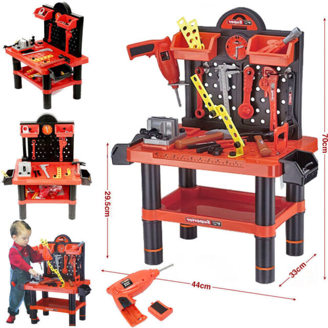 Kids 52pcs Workbench Tools Play Set Children Creative Building Workshop Kit Toy Ebay