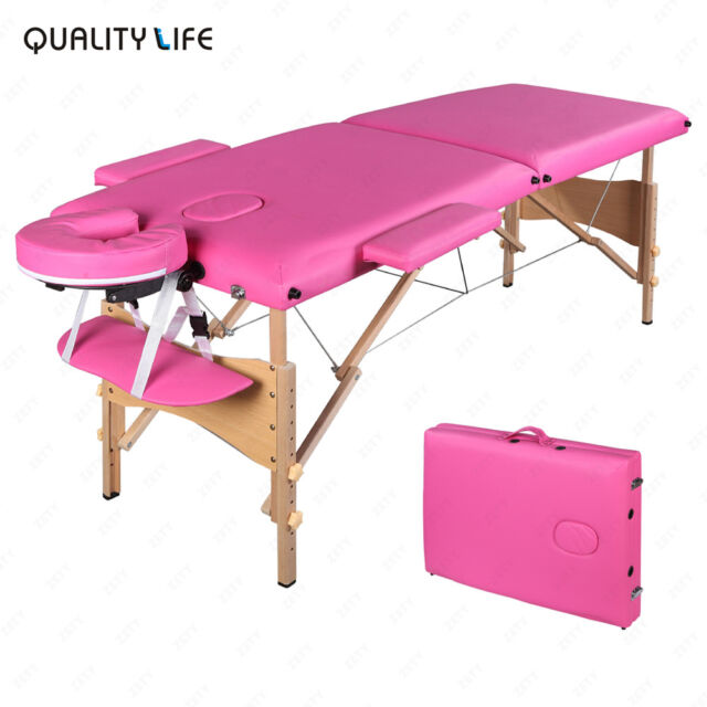 84 l pink fold portable massage table facial spa beauty bed tattoo carry case ebay - Portable massage table reviews ...