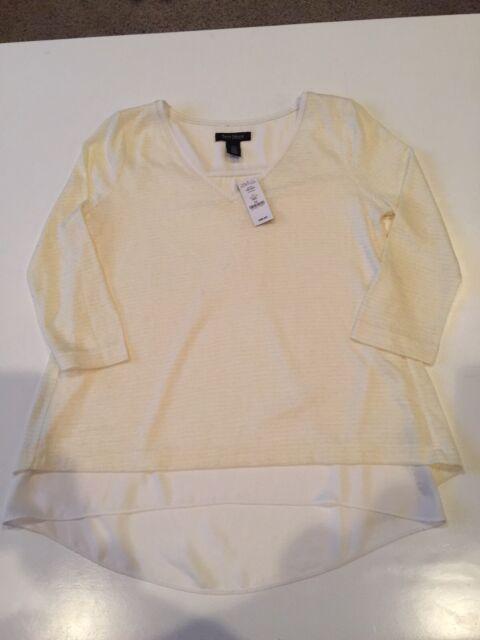 Womans White House Black Market Whbm Shirt 34 Sleeve Yellow Stripe
