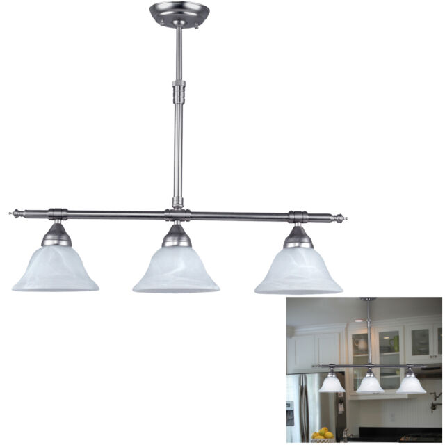 Brushed Nickel Kitchen Island Pendant Light Fixture Dining Globe - Kitchen pendant lighting ebay