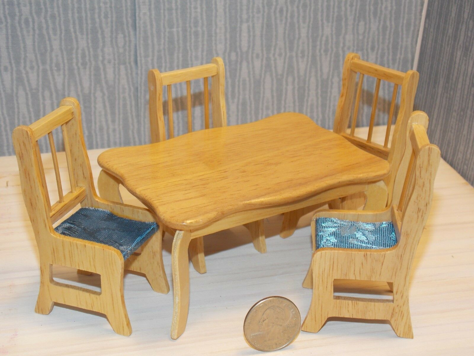 Wood Dining Room Dollhouse Furniture Set Mini Collectibles Hutch