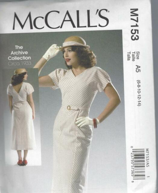 McCALL'S SEWING PATTERN MISSES' ARCHIVE COLLECTION C 1933  DRESS  8 - 22 M7153
