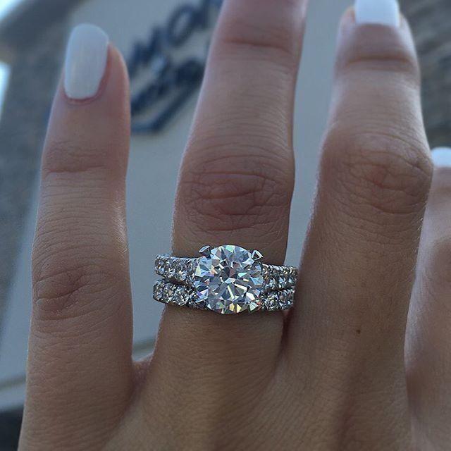 Princess Diamond Engagement Ring Wedding Set 14k White Gold 300ct