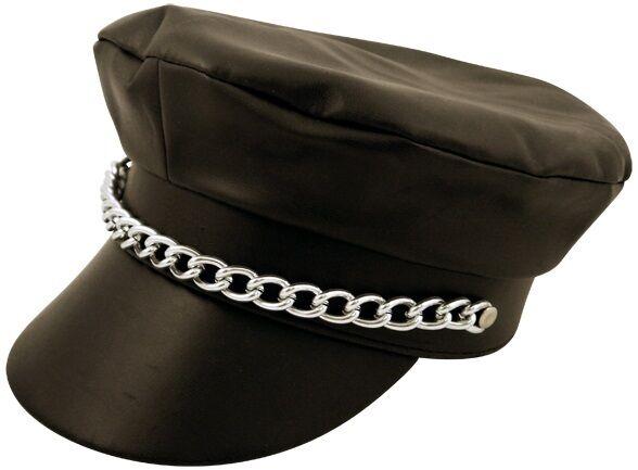 PVC Leather Look YMCA Gay Village People Biker Hat Cap - Fancy Dress H07 073