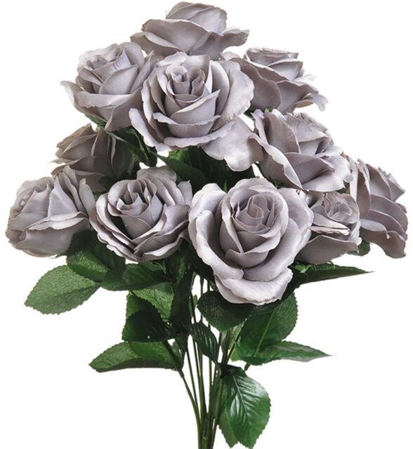 Gray 12 Open Long Stem Roses Silk Wedding Flowers Bouquets ...