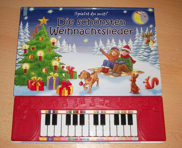 Die schönsten Weihnachtslieder, Pappbilderbuch mit Klavier-Tastatur Musik Noten