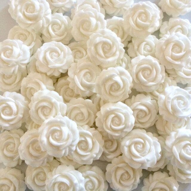 12 White Roses Edible Sugar Paste Flowers Cup Cake Decorations ...