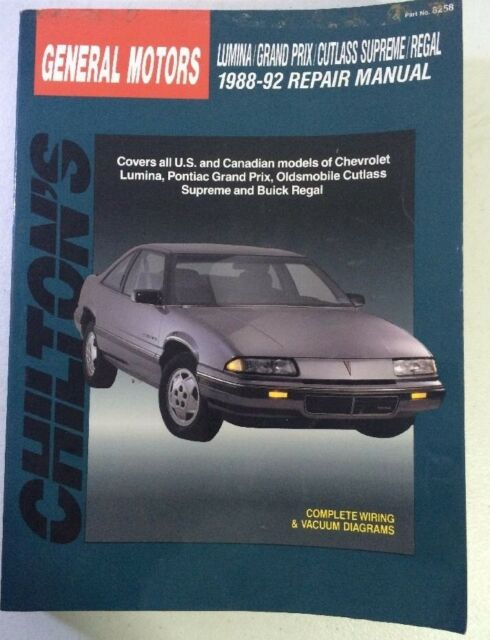 8258 chilton gm auto repair manual lumina grand prix cutlass supreme rh ebay com 1984 Buick Regal 1978 Buick Regal