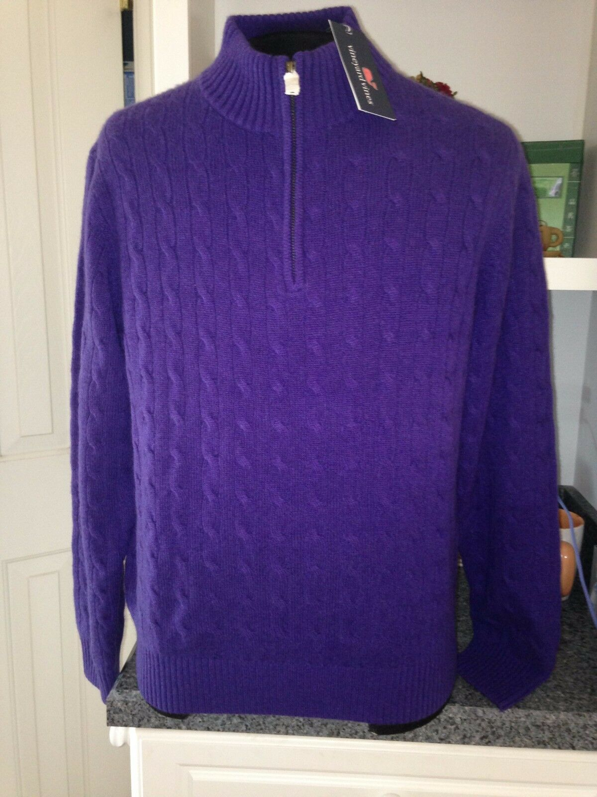Vineyard Vines Purple Cashmere 1/4 Zip Cable Knit Fall Sweater M ...