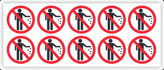 No littering clear decals bulk 1 5dia stickers outdoor durable business signs